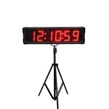 """في الهواء الطلق 5 """"إضاءة مقاومة للماء مؤقت تنازلي على مدار الساعة الرقمية الرياضة سباق توقيت ساعة كبيرة led ساعة توقيت عرض الوقت"""