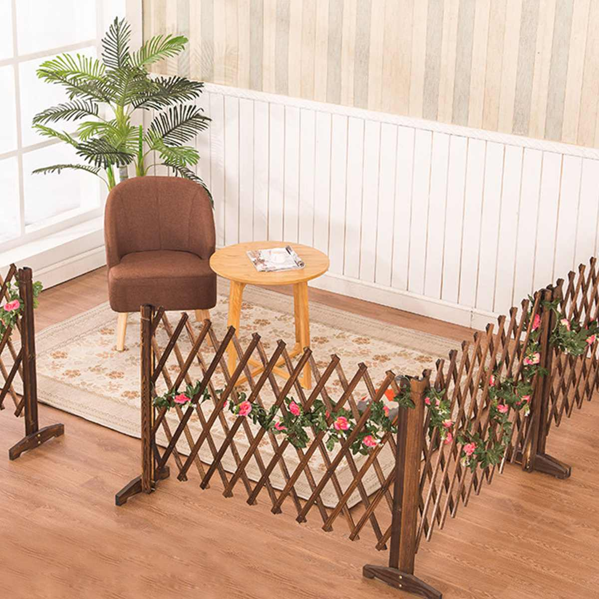 Protect Privacy Decoration Fence Extension Garden Building Fence Bucolic Mula Net Wood Carbonized Fir Home Restaurants Wall