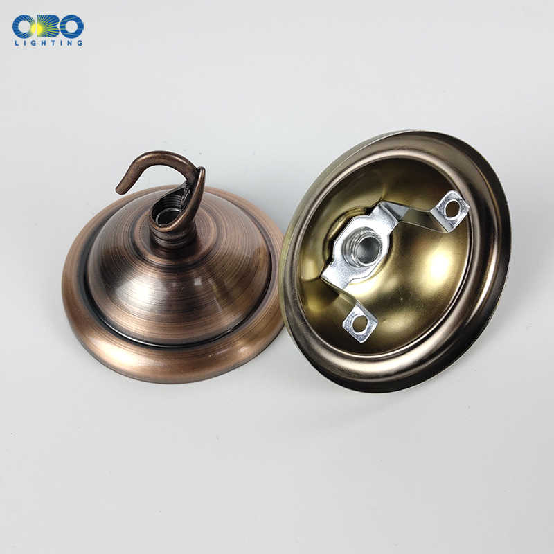 Ceiling Plate Base Black/White/Bronze/Gold/  66mm DIY Round Iron+ Hook Ceiling Mount Pendant Lamp Base