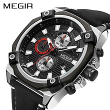MEGIR Military Sports Casual Watch Men Leather Strap Waterproof ChronographWatches Mens Top Luxury Relojes Hombre Male Clock oulm watches male quartz watch casual leather strap military wristwatch men s watch top brand luxury clock relojes hombre
