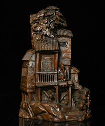 Dekoracje ślubne chiński drewno bukszpanowe rzeźbione domek na drzewie stary człowiek rysunek ShanZi statua dekoracji w Posągi i rzeźby od Dom i ogród na
