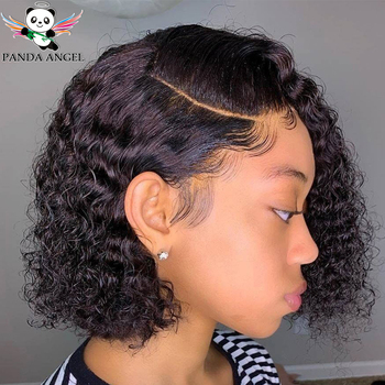 13x4 Kinky Curly Short Bob Wigs Brazilian Curly Lace Front Human Hair Bob Wigs For Black Women Pre Plucked 150% Remy Wig Panda my like brazilian curly human hair wig pre plucked short bob lace front human hair wigs 150