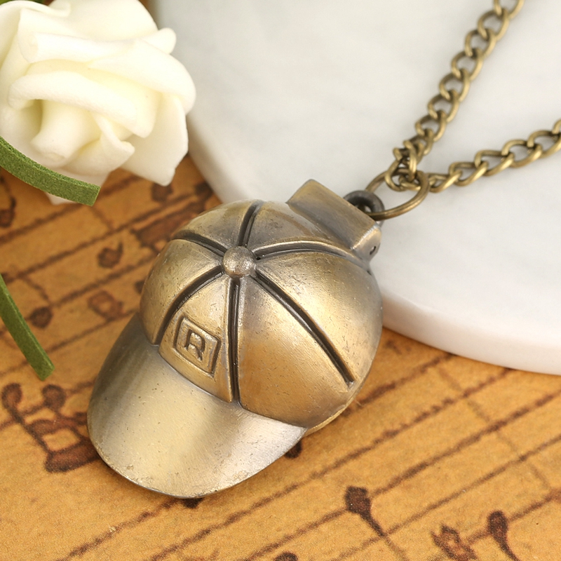 Creative Hat Shape Quartz Pocket Watch Casual Necklace Chain Pocket Watches Round Dial Pendant Watch Clock For Girls Boys Kids