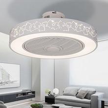 Современный минималистичный Белый окрашенный Железный потолочный вентилятор светильник Кристалл декоративный акриловый светодиодный светильник ing затемняемый светильник с вентилятором для спальни AC220