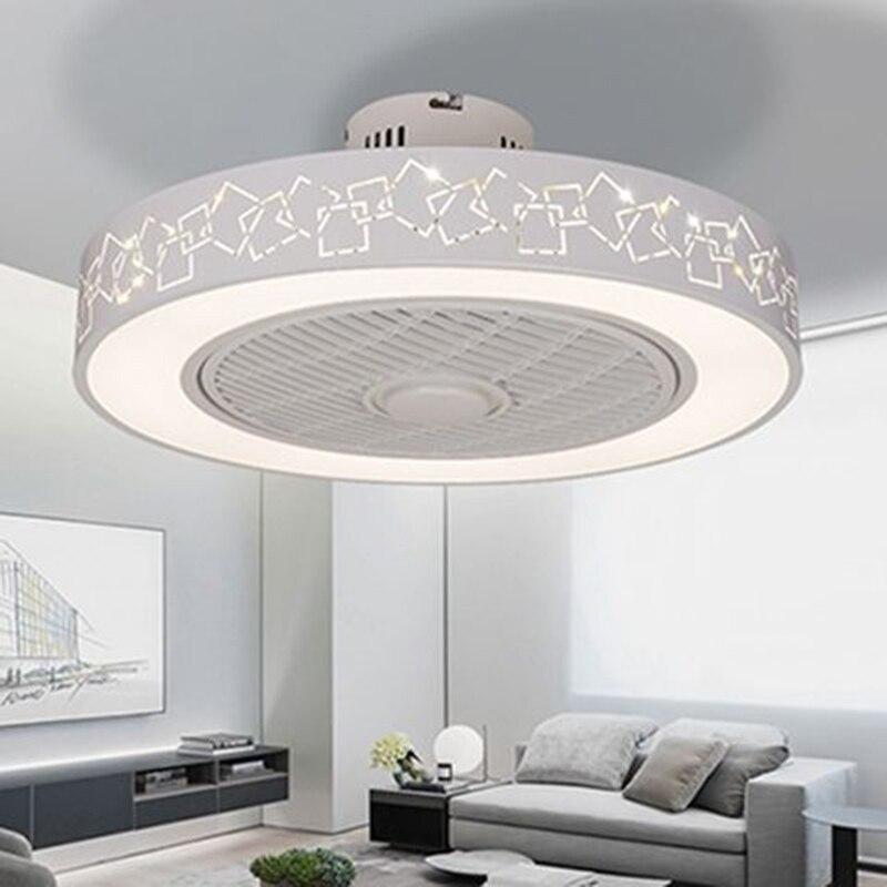 Modern minimalist beyaz boyalı demir ışıklı tavan fanı kristal dekoratif akrilik LED aydınlatma kısılabilir yatak odası fan lambası AC220