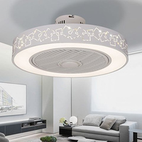 Modern minimalist white painted iron ceiling fan light crystal decorative acrylic LED lighting dimmable bedroom fan lamp