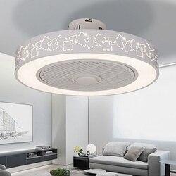 Moderne minimaliste blanc peint fer ventilateur de plafond lumière cristal décoratif acrylique LED éclairage dimmable chambre ventilateur lampe AC220
