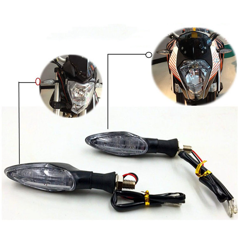 Motorcycle LED Turn Signal Light Universal 10mm Front Rear Warning Indicator Flexible Bendable For KTM Duke 390 Pit Bike Flasher