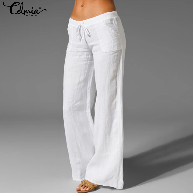 Celmia Casual Baggy Wide Leg Pants Women Elastic Waist Trousers Vintage Long Palazzo Fashion Casual Solid Loose Pantalon S-5XL
