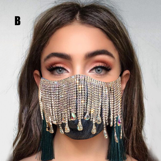 #30 1PC  Women's Sequin Mask Fashion Club Face Mask Flash Diamond Jewelry Tassel Pendant Party Mask mascarillas adultos 3