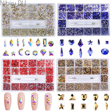 3d Nail Art Rhinestones Decorations Gems Multi-size Various Shapes With Drill Pen Design Nail Charms Supplies For Professionals