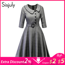 Sisjuly Women Spring Fall Winter Peter Pan Collar Single Breasted Belt Black Houndstooth Plaid