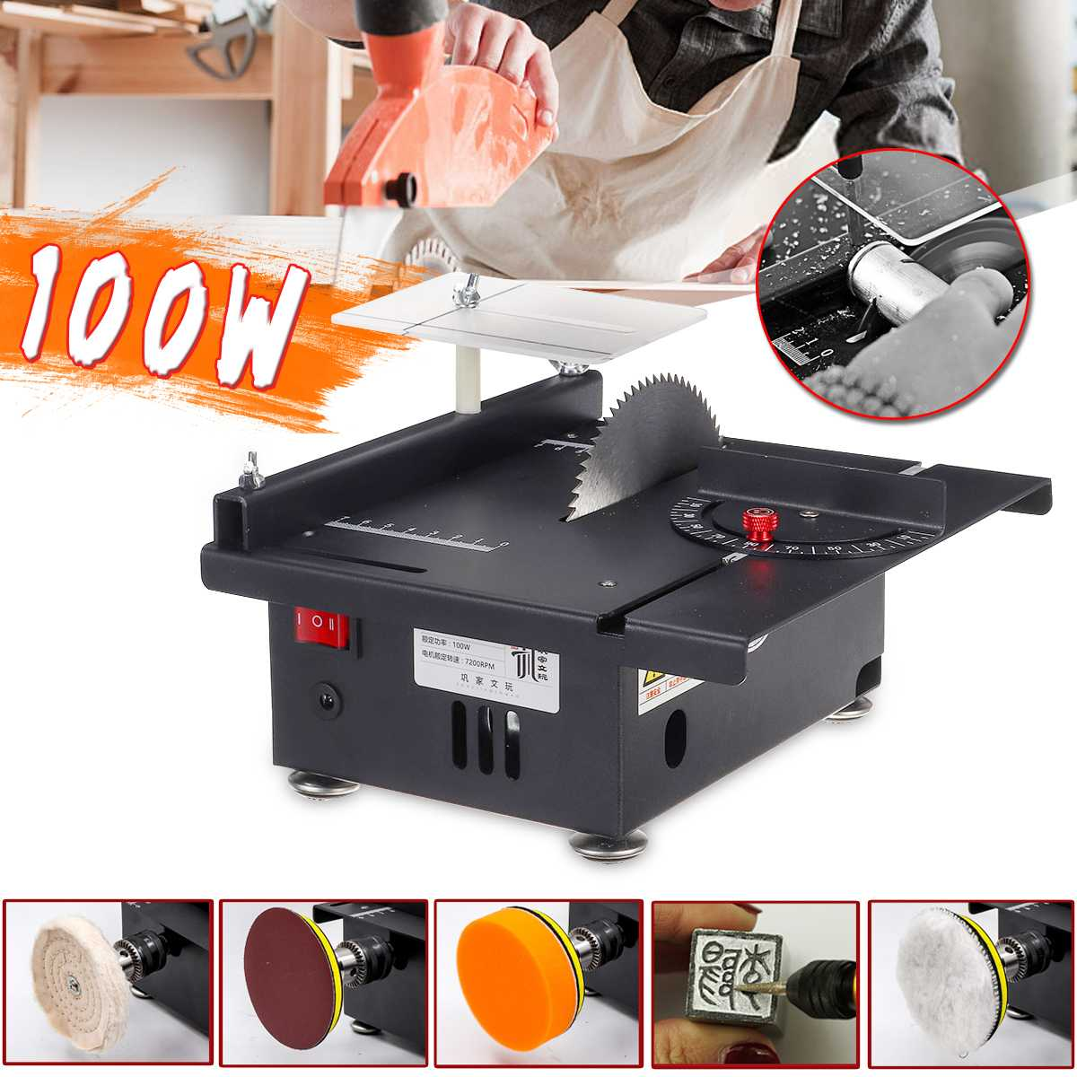 Mini Electric Table Saw Woodworking Bench Saw Grinder Handmade Hobby Model Crafts Cutting Tool with Power Circular Saw Blade