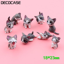 DECOCASE 9pcs/lot Cute Miniature Cat Landscape Gifts Slime Charms Beads Crafts Ornaments Decoration Phone Case DIY Accessories
