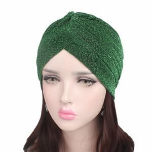 Image 1 - Helisopus 2020 Women Fashion New Shiny Turban Stretchable Soft Bright Hat Muslim Style Hijab Turban Head Wraps