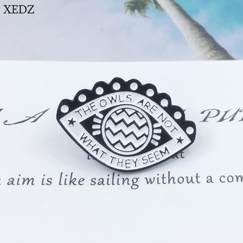 XEDZ new white eye brooch THE OWLS ARE NOT WHAT THEY SEEM proverb badge fashion denim clothes pendant jewelry gift image