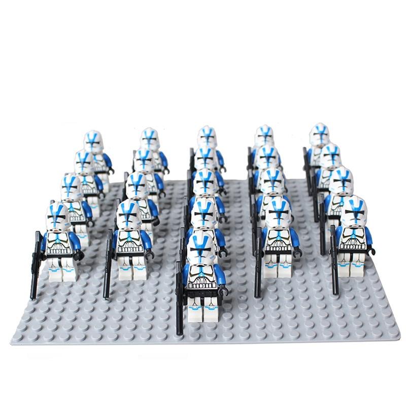 21PCS/LOT STAR WARRS 501st Clone Trooper SW445 with Weapons mini figure compatible legoe building block Kids toys for ChristmasBlocks   -