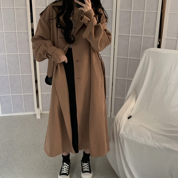 Fashion Korean Women Trench Coat Elegant Loose Brown Long Overcoat Vintage Casual Kadin Mont Women's Clothing Autumn MM60WFY