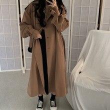 Fashion Korean Women Trench Coat Elegant Loose Brown Long Overcoat Vintage Casua