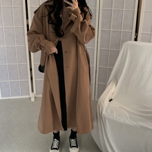 Fashion Korean Women Trench Coat Elegant Loose Brown Long Ov