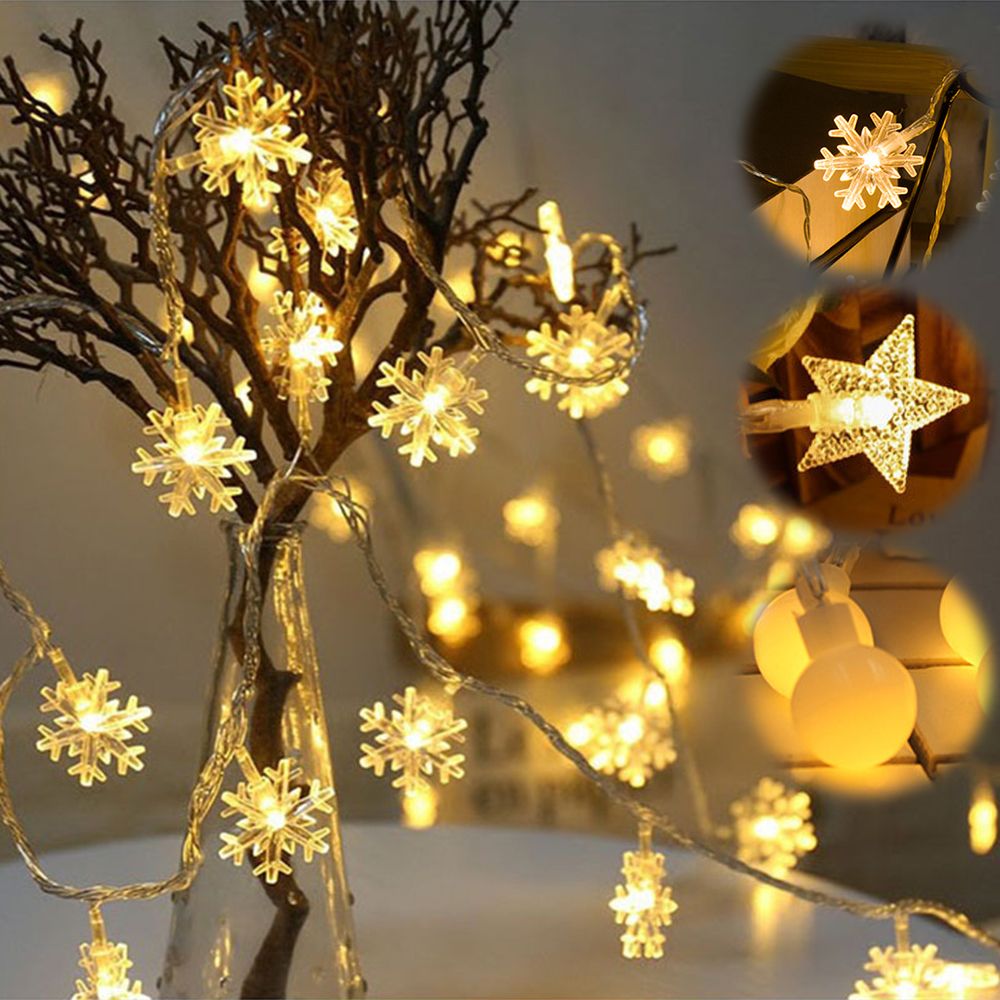 <font><b>10M</b></font> <font><b>100LED</b></font> <font><b>220V</b></font> Christmas Snowflake Star Ball String Lights 6M 40LED Battery Flash Fairy Light Garlands For Wedding Party Decor image