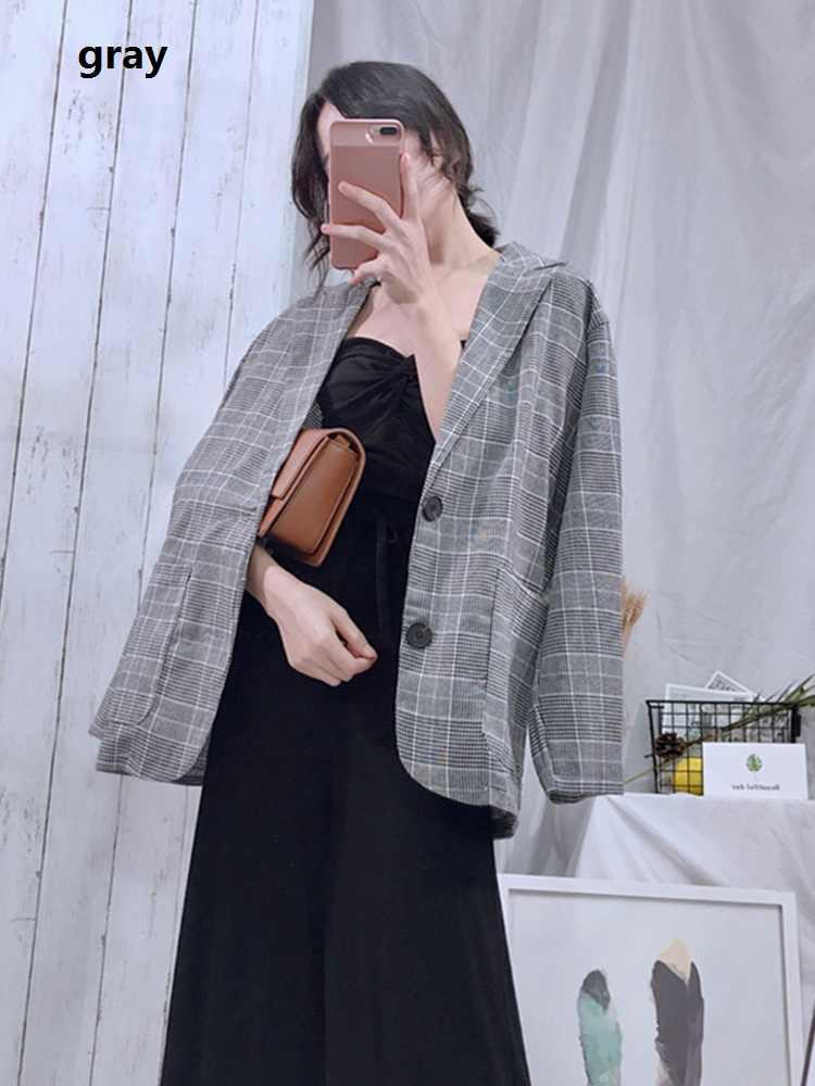 Xadrez do vintage blazers feminino casacos casuais outono manga longa feminino 2019 bolsos casaco de algodão solto blazer formal para mulher 0143
