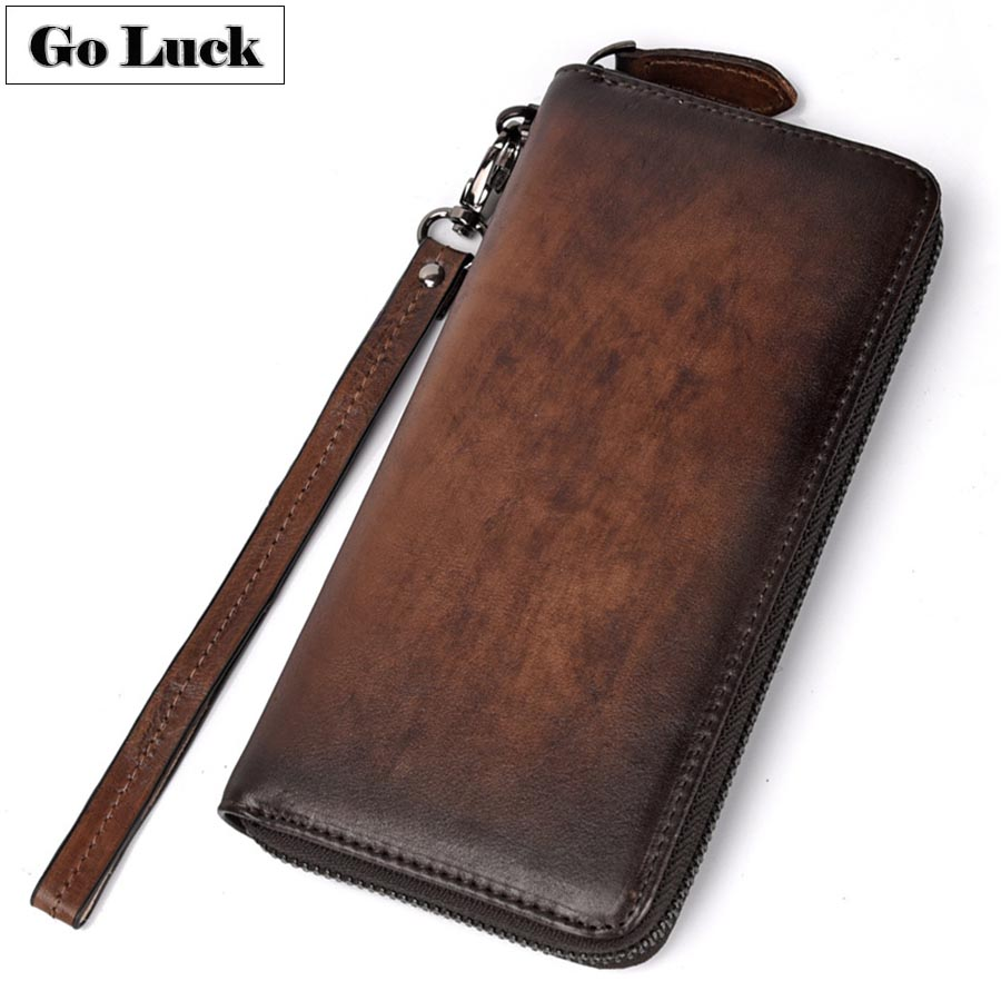 GO-LUCK Brand Genuine Leather Wristlet Clutches Wallets Men Credit ID Business Card Case Women Cell Phone Pouch Purse Unisex