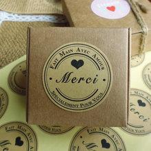 Étiquette autocollante de scellage, autocollant français Merci coeur amour fait à la main, pour emballage de gâteau, pâtisserie, 120 pièces