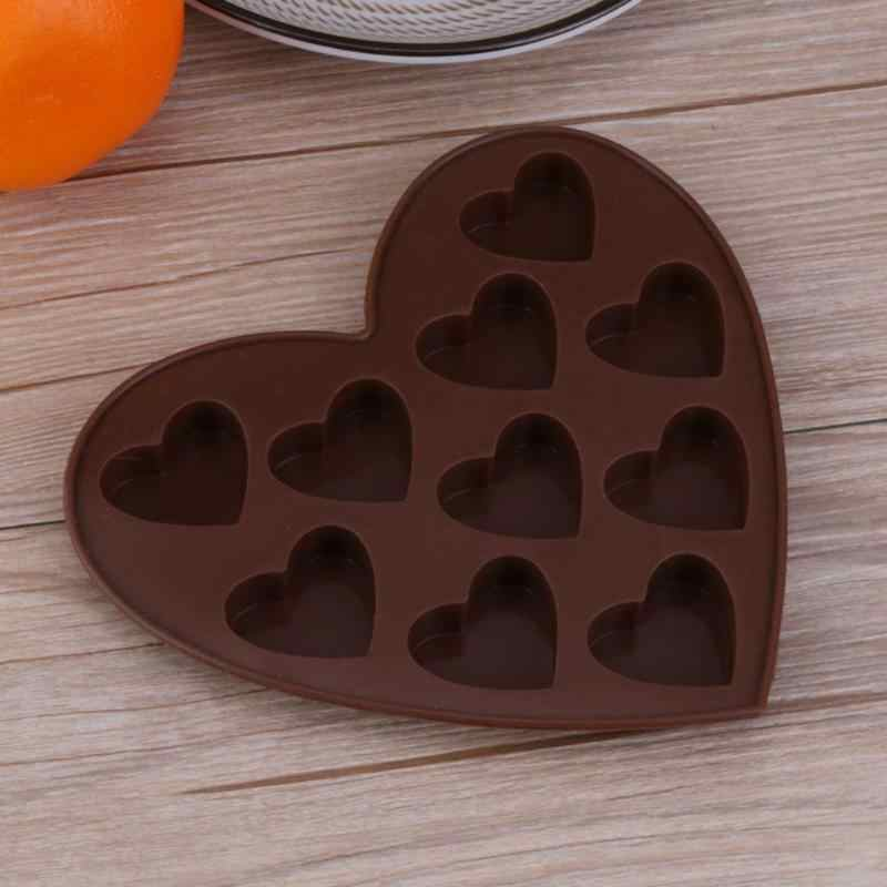 10 ثقوب الحب على شكل قلب الشوكولاته سيليكون قالب الخبز قوالب لتقوم بها بنفسك فندان ديكور أداة الآيس كريم قالب المطبخ خبز قوالب