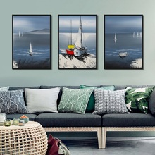 Hand-painted Sailing Landscape Decoration Poster Print Sea Canvas Painting Picture Home Wall Art Aisle Modern