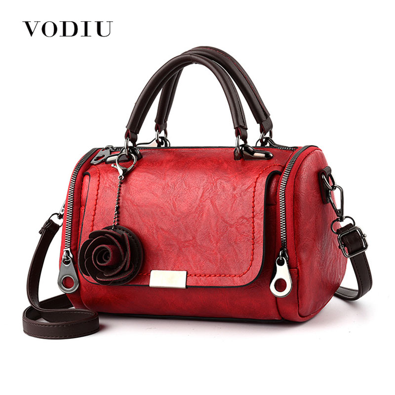 Women's Handbags New Fashion Retro Rose Pendant Large Capacity Leather Shoulder Bags Female Tote Casual Messenger Bags For Women