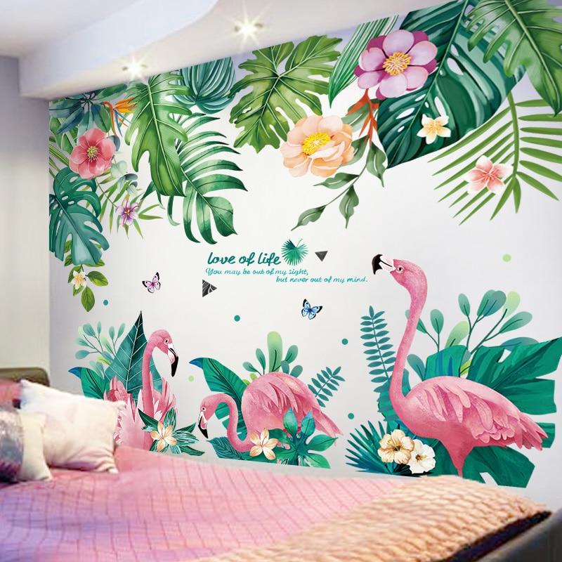 [SHIJUEHEZI] Flamingo Animais Criativo Folhas Da Árvore de Adesivos de Parede DIY Mural Decalques para Crianças Quarto Sala de estar Decoração de Casa