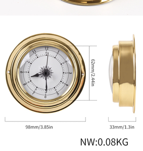 "Image 4 - Nieuwe 1 Pcs 3 ""Messing Case Traditionele Weerstation Analoge Tij Klok Gold Metal (Witte Wijzerplaat) Tc8151"