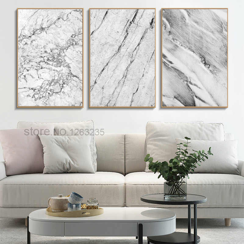 Abstract Nordic Poster Marble Stone Pattern Canvas Painting Black And White Wall Pictures Cuadros Decoracion Home Decor Unframed