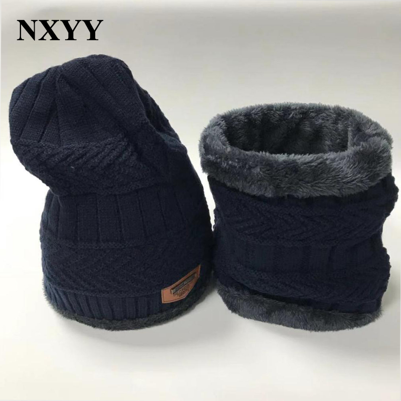 NXYY 2pc Winter Warm Hat Scarf Sets Fashion Beanies Hats Knitted Thicken Men's Ski Cotton Innocent Urinal Bib Leisure Face Mask