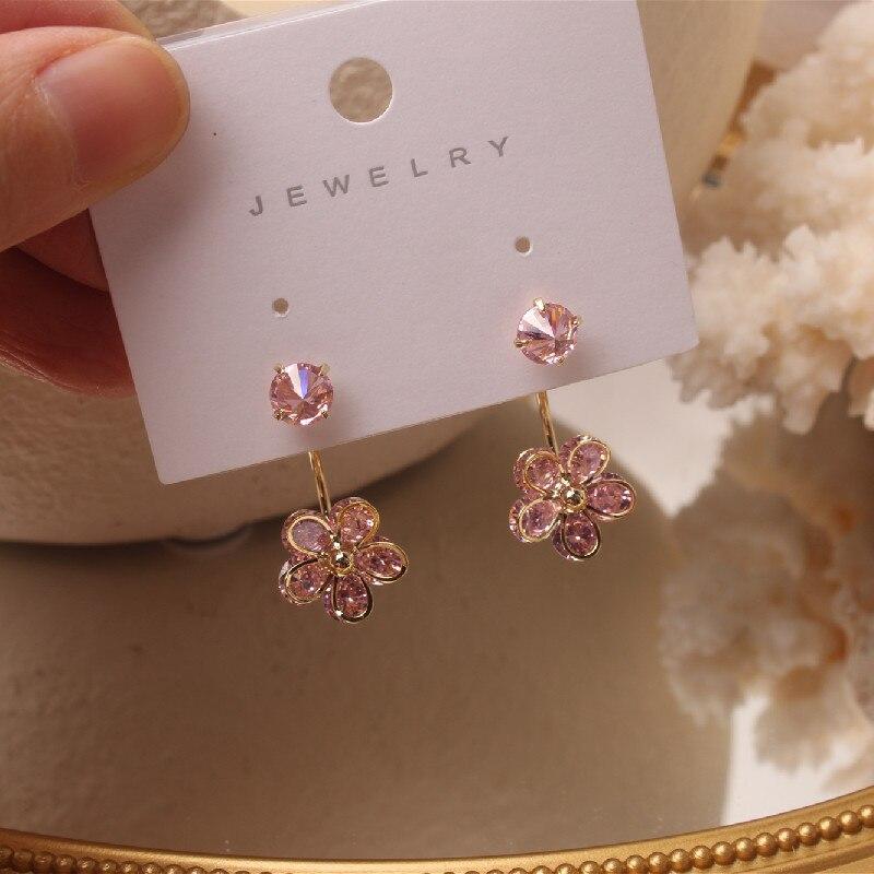 South Korea's new design fashion jewelry luxury shiny pink zircon flower earrings hooks two ways to wear female earrings