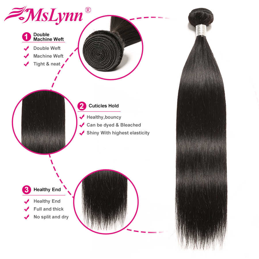 Straight Hair Bundles With Closure Human Hair Bundles With Closure Brazilian Hair Weave Bundles With Closure Mslynn NonRemy Hair