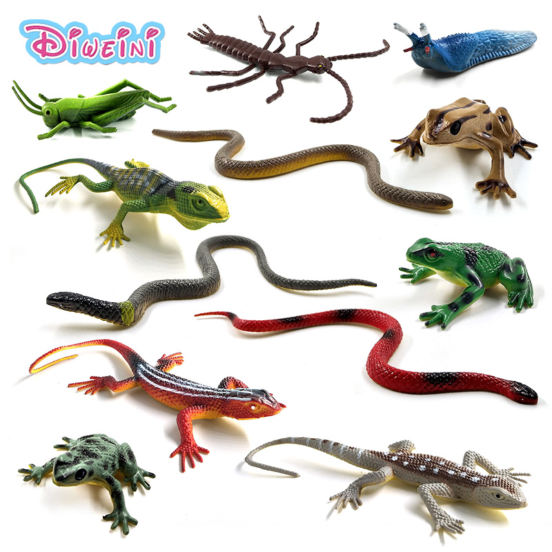 12pcs Simulation Frog Grasshopper Insect Snake Lizard Reptile Animal Model Lifelike Action Figure Home Decor Gift For Kids Toys