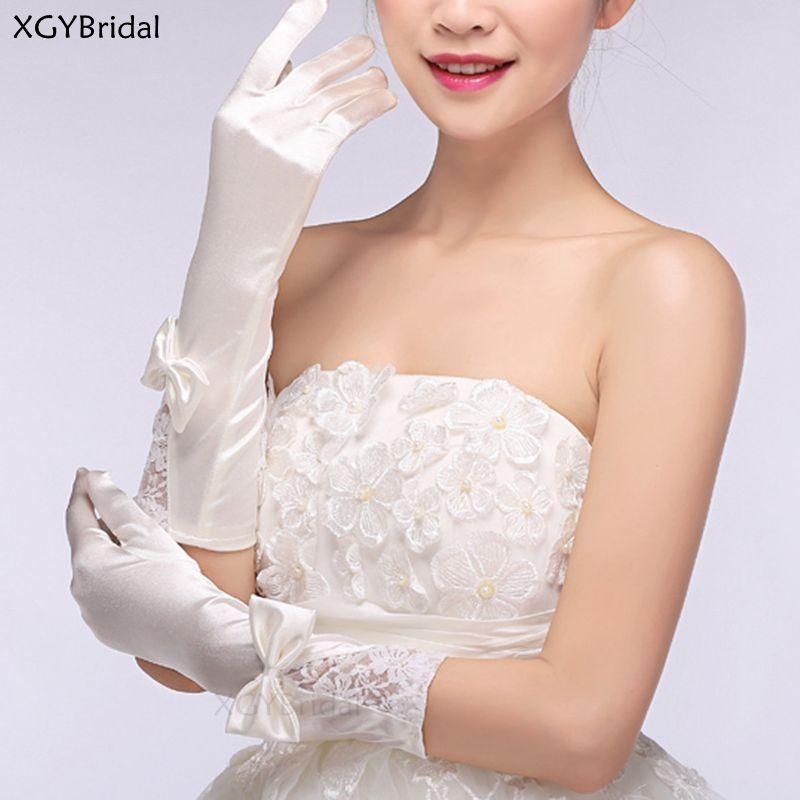 New Arrival Long Wedding Gloves Satin White Bridal Gloves for Woman перчатки Party Dance Glove Wedding Handschoenen Hot Sale