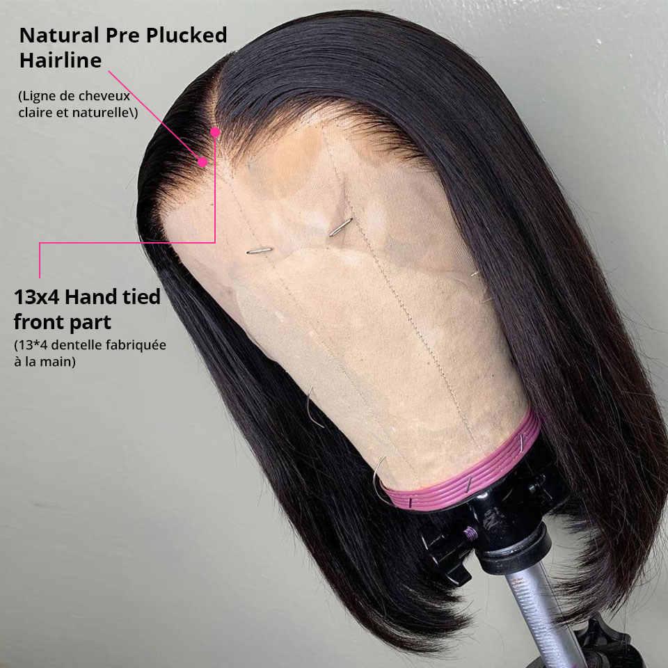 Korte Bob Pruiken Straight Lace Front Human Hair Pruiken Voor Vrouwen Pre Plukken Met Baby Haar 13X4 Bob lace Front Pruiken Lijmloze Kant Pruik