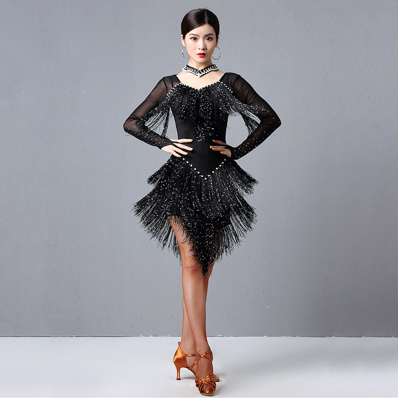 2020 Women Dance Wear Ballroom Dress Samba Costume Party Dresses Sheer Mesh Stretchy Fringes Latin Dress (with Necklace)