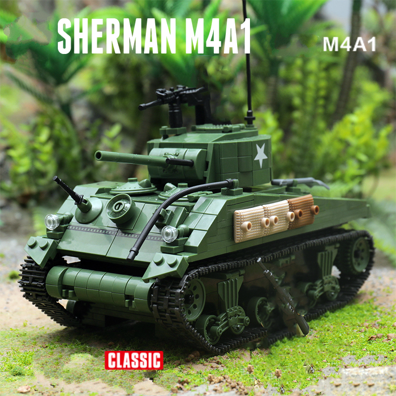 726 Pcs With 4 Doll WW2 Tank Soldier US Army Sherman Tank Character Lego MOC