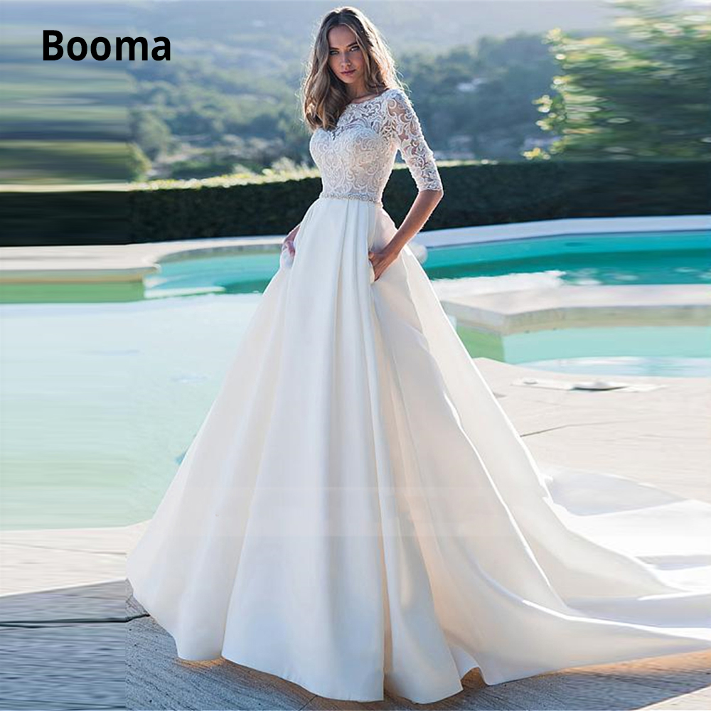 Booma Elegant Lace Satin Wedding Dresses 2020 Half O-neck Button Beach Boho Ivory Bridal Gowns Prince Party Dresses Plus Size