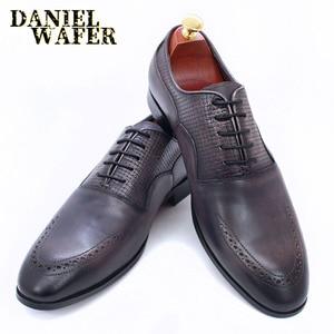 Image 5 - יוקרה מותג גברים אוקספורד נעלי איטלקי בעבודת יד עור אמיתי פורמליות נעלי תחרה עד אפור משרד עסקי חתונה שמלת נעלי גברים