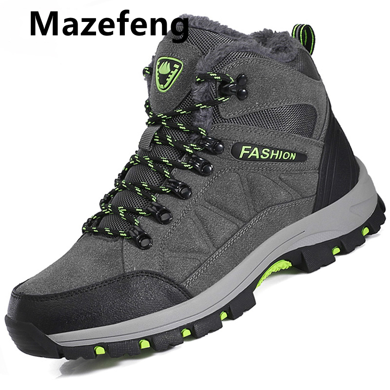 Classic Men Winter Boots Plush Warm men Snow Boots Waterproof Non slip Men Ankle Boots Lace Up Outdoor male hiking shoes 39 45