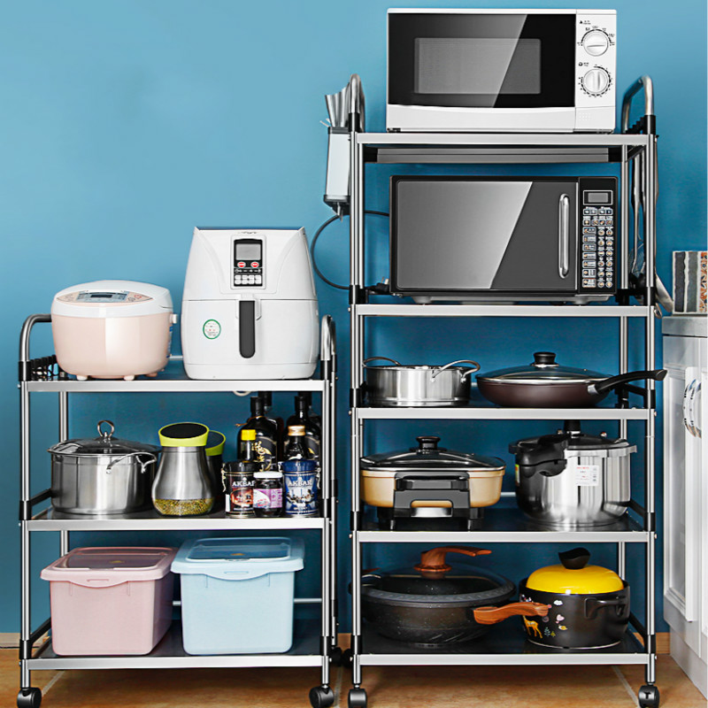 Stainless steel kitchen rack floor type multi-layer microwave oven shelf pot oven storage rack home space image