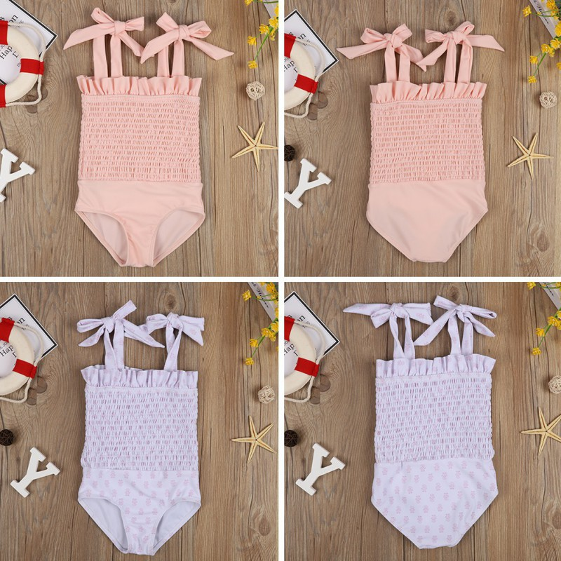 One-piece Baby Girl Swimsuit Swimwear Rubber Band Bow Strap Swimsuit Bikini Tankini Swimwear