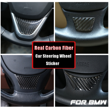 For BMW 1/3/5 Series GT X1 E90 E92 F10 F07 E84 2005-2019 Carbon Fiber Car Steering Wheel Stickers Accessories Car Styling image