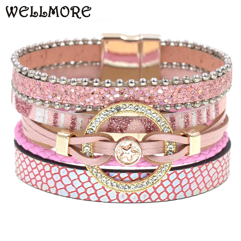 Charm Leather Bracelets For Women Trendy Boho bracelet Multilayer Wrap Bracelet women Female Jewelry
