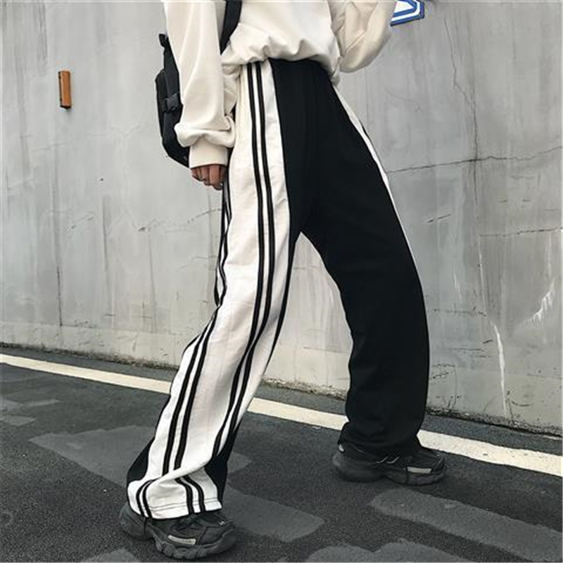 NiceMix Color Matching Straight Wide Leg Pants men Casual Pants Tide Korean Style Of Ins Trend Retro Black And White Hit Color